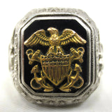 Large United States Navy Signet Ring Size 10.5, Sterling Silver 16.8 Grams, Embossed Gold American Eagle, USA Army Military