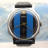 Vintage 1960's Pobeda Men's Watch from Russia USSR, Blue Black Stripes Dial, Silver Tone Hexagonal Case, Black Leather Band