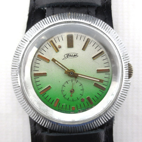Vintage ZIM Pobeda 17 Jewels Large Round 43 mm Russian Men's Watch, Pilot Leather Band, Flying Saucer Case, Green Gradient Dial, USSR