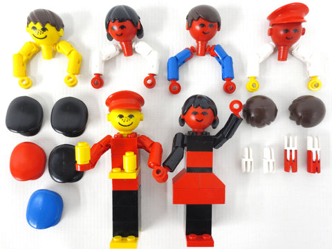 Vintage 1970's Lego Family #200 and Native American Indian #215 Parts, 90+ Legoland Homemaker Figurine Parts, Red Lego Heads, Hats, Arms