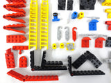 Vintage 1970's Lego Legoland 90+ Rare Vehicle and Connector Parts Lot, Tractor, Dump truck, Helicopter, Car, Airplane, Ladders, Pulleys