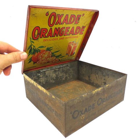"Vintage Oxade Orangeade Juice Tin Box Advertising 7"" by OXO London England, Double Sided Lid, Orange Drinks, Sachets"