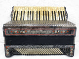 Rare Antique Angelo Moressi Italy Piano Accordion, 120 Basses, 41 Notes, Mother of Pearl, Red Flowers, Black and Silver, Leather Straps