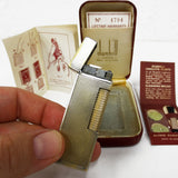 Vintage 1960's Dunhill Rollagas Lighter Gold Silver Two Tone with Original Box, Warranty, Manual and Unused Cleaning Brush Kit