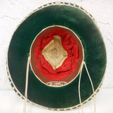 "Vintage 13"" Green Felt Sombrero Signed Charro Aritza, Kid Medium Hat Size 6 3/8"" 51 cm 20 1/8"", Mexican Mariachi Hat, Horseshoe"