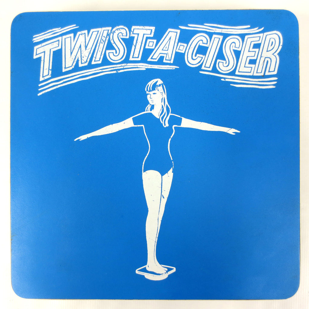 Vintage 1960's Twist-A-Ciser Exercise Board for Hips and Legs Workout, Rotates 360, Wooden Board, Metal Plate