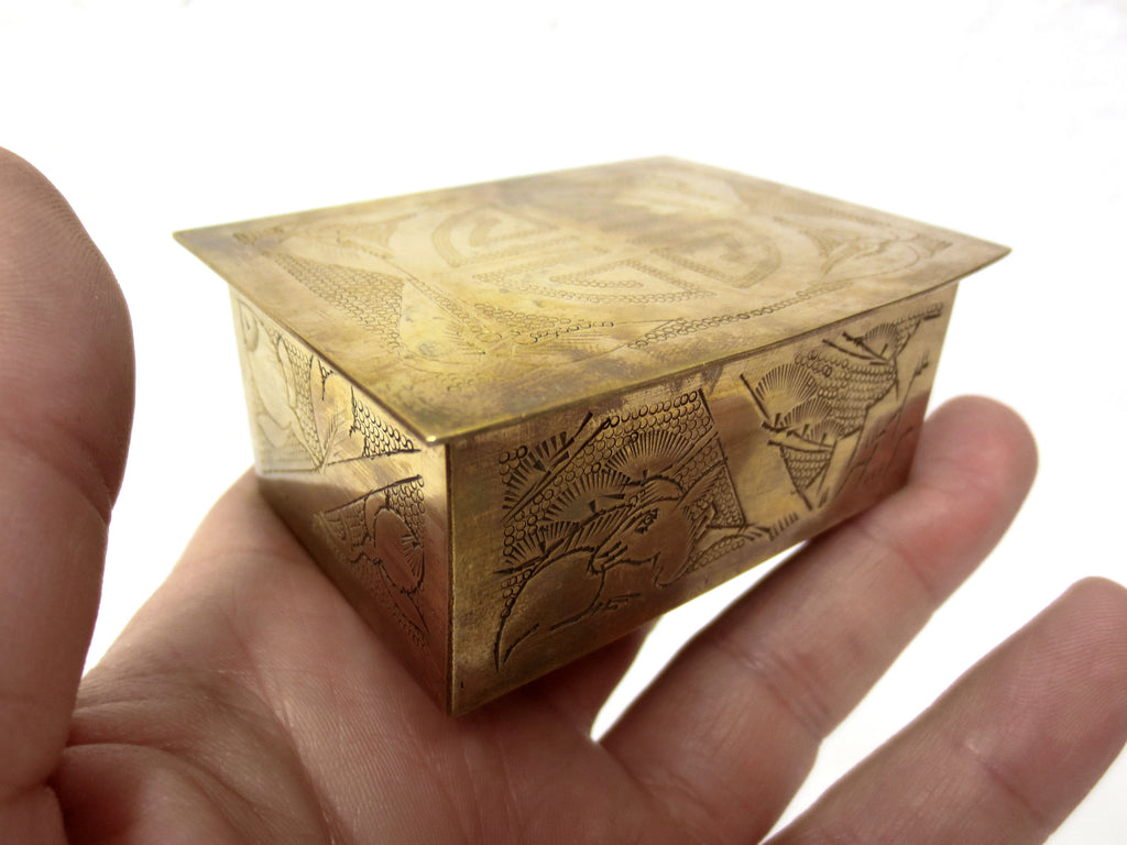 "Antique Chinese Brass Stamps Coins Trinket Box 3 X 2"" Small, Forest Landscape with Animal and Flowers, Handmade Hammered Punched"