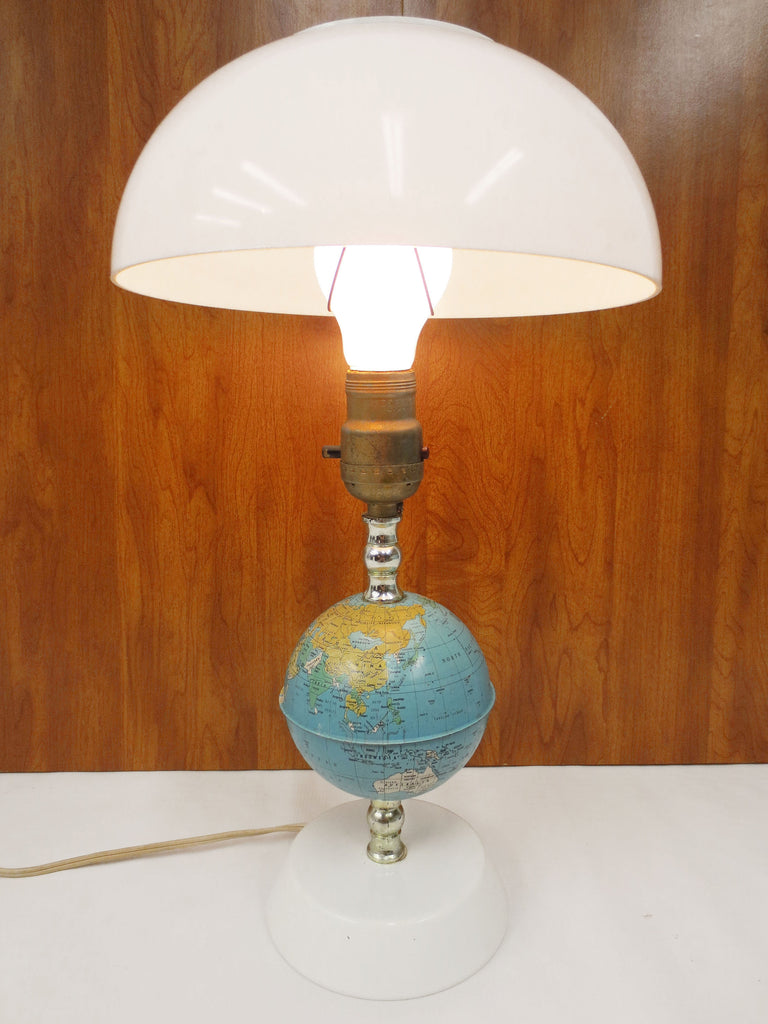 "Vintage Mid Century Table Desk Lamp 16"" Tall with Metal Earth Globe and Base, White Plastic Dome, Futuristic Design"