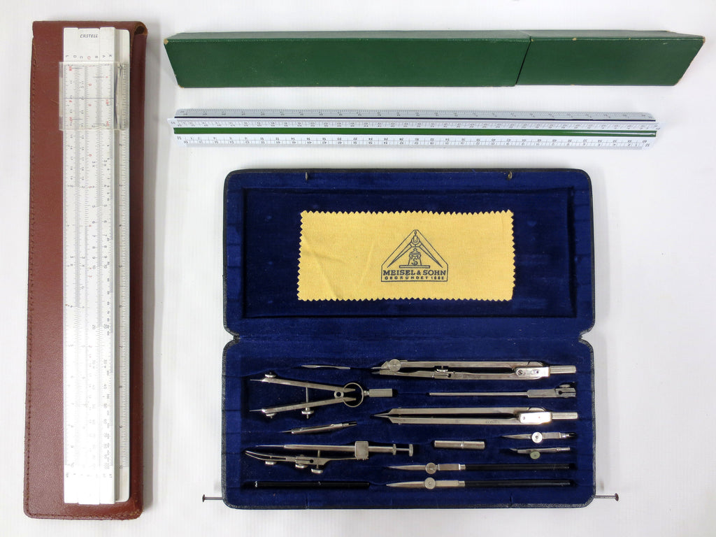 Vintage Meisel & Sohn Complete Drafting Set with Castell Slide Rule and Faber Castell 883 Triangle 3 Sided Rule Germany, Architect, Engineer