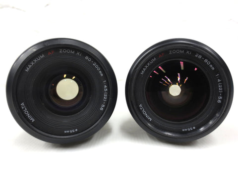 Pair of Minolta AF Zoom Xi Lenses A mount, 28-80mm f/4(22)-5.6 0.8m/2.6ft and 80-200mm f/4.5(22) - 5.6 1.5m/4.9ft, Protective Caps