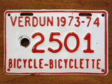 "Vintage 1970's Metal Bicycle License Plate 5X3"", City of Verdun in Montreal, Quebec, Canada, French and English, Bicyclette, Red and White"