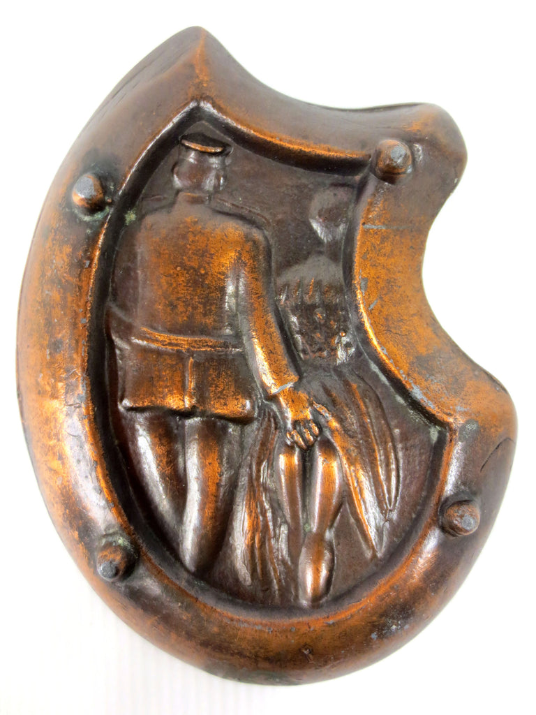 "Antique Art Nouveau Erotic Risque Bronze Plate 4 5/8"", Military Police Man with Woman, Hand Under Lifted Skirt Dress"
