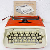 Vintage 1964 Royal Safari Typewriter Orange Color, Mid Century Modern Design, Fully Functional, Original Ribbon, Manual & Receipt