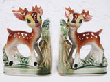 Vintage 1950's Ceramic Bookends Deer Fawn Bambi Baby Animal, Matchin Pair, Made in Japan, 6 X 4""