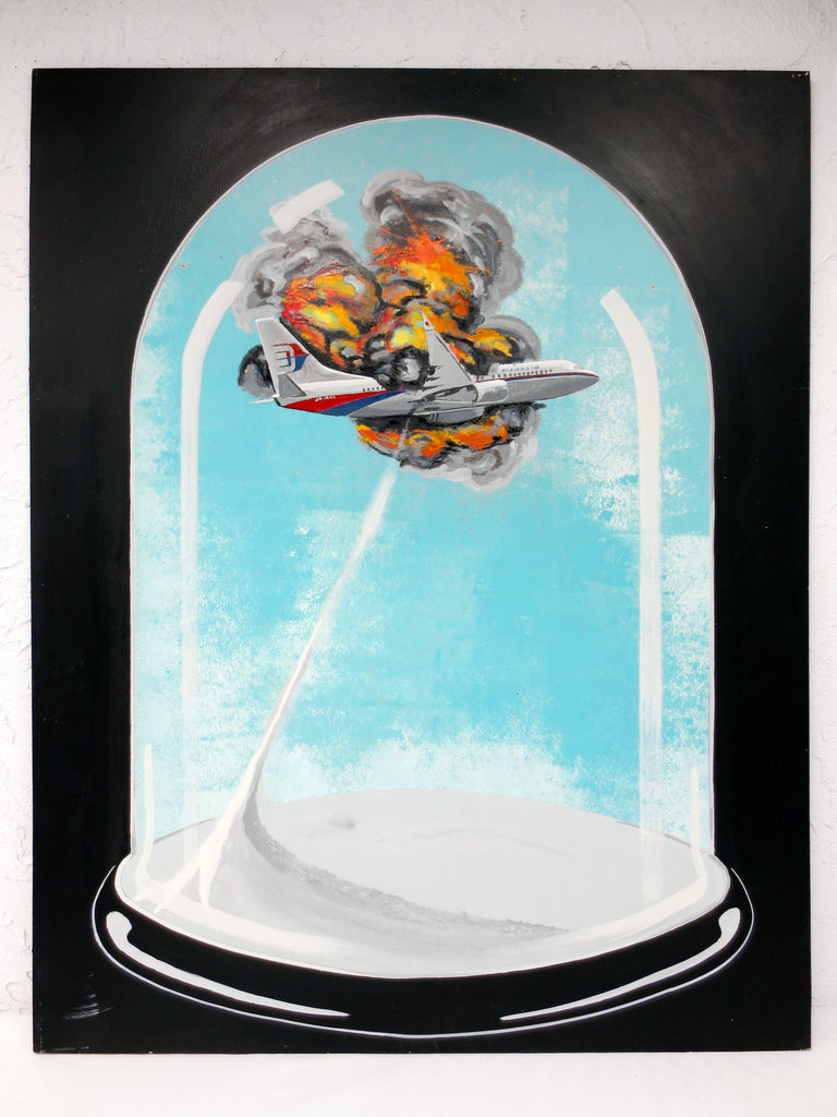 "Painting by Quebec Artist Jerome Rochette 32X41"" Air Malaysia Flight 370 Crash ""Die Like this - Mourir comme ca"", Acrylic on Board"
