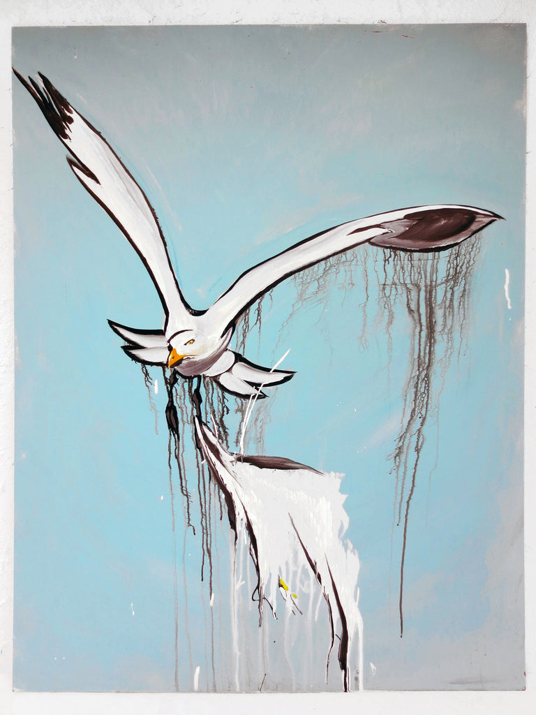 "Painting by Quebec Artist Jerome Rochette 32X41"" Seagull Seabird Flying ""Les Nuisibles - The Harmful"", Acrylic on Board"