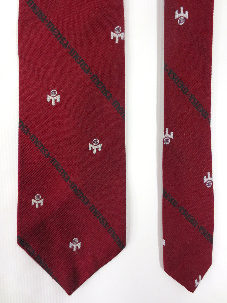 "Vintage Mensa International IQ Society Neck Tie 53"" Long, Dark Red with Mesa Emblem and Name, Cool Nerdy Necktie"