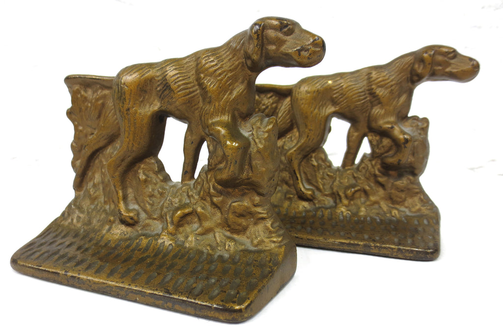 "Vintage English Pointer Bookends 5X4.5"", Golden Cast Iron, Hunting Dogs, Pointing Tail"