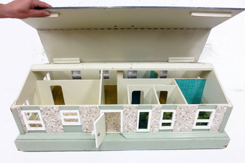 "Vintage Handmade Dollhouse 32X17"" All Wood, 7 Rooms, 12 Windows, 2 Doors, Wheels, Removable Roof"