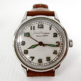 Vintage 1940's Girard Perregaux Sea Hawk Men' Watch with Rare Glow in the Dark Army Military Dial, White Dial, New Brown Leather Band