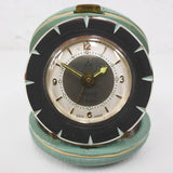 Vintage Portable Travel Alarm Clock Signed Peter Germany, 2 Rubis, 3 Stars, Chrome Face, Turquoise Leather Case, Atomic Starburst Clock