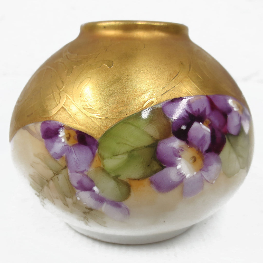 "Antique Victorian Porcelain Gild Gold Leafed Lamp Light Shade Globe 3 3/4"" Diameter, Green Purple Flowers, Embossed"