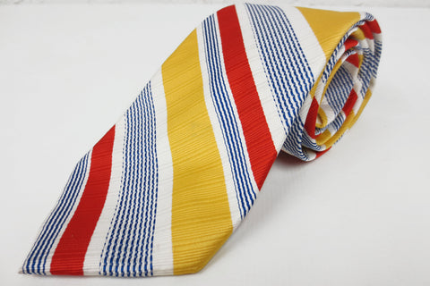 Vintage 1970's Luxury Louis Feraud French Silk Neck Tie, Faubourg Saint-Honoré, Paris France, Red Yellow Blue Stripes