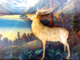 "Vintage Antique Canadian Nature Forest Scene Framed Behind Glass 17X13"", Wapiti Deer, Snowy Mountains, Hamilton Pictures, Montreal East"