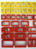 Vintage 1970's Lego Legoland 60+ Doors & Windows Parts Lot, Lego City House Building Sets, Car Windows, Red and Yellow
