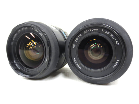 Pair of Minolta AF Zoom Lenses A mount, 35-70mm f/3.5(22)-4.5 and 28-80mm f/4(22)-5.6 with Macro Switch, Protective Caps