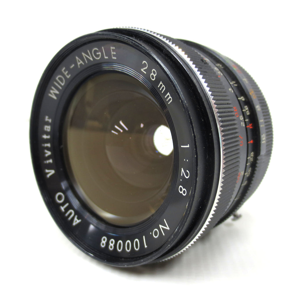 Vintage Vivitar Auto Wide-Angle Camera Lens 28mm 1:2.8, Mount Marked CS, Made in Japan, Serial 100088