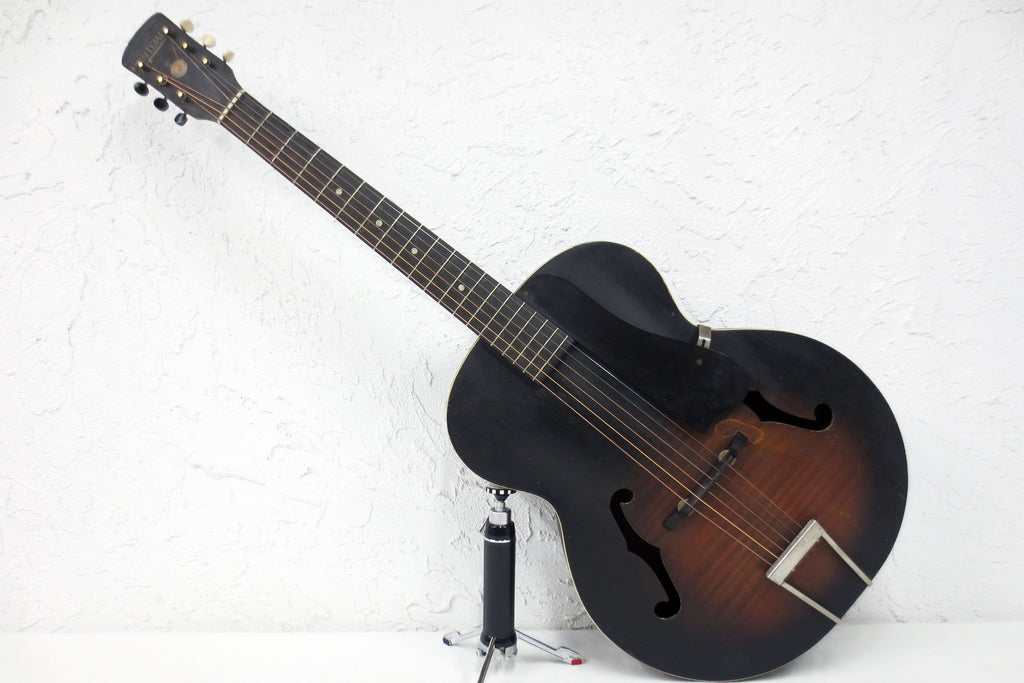 Vintage 1940's Early Harmony Monterey Archtop Acoustic Guitar, Sunburst, All Original, WWII Era