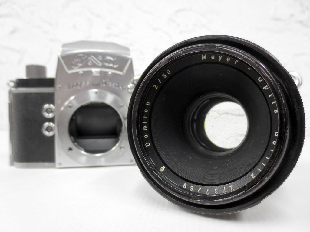 Vintage Meyer-Optik Görlitz Domiron 2/50 Q1 Camera Lens Serial 2737269 and Exa Exakta Jhagee Dresden 35mm Camera