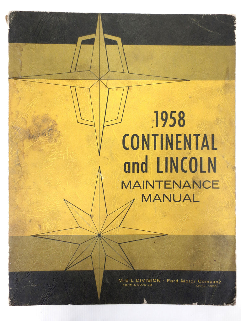 Vintage 1958 Ford Continental Mark III and Lincoln Cars Maintenance Manual