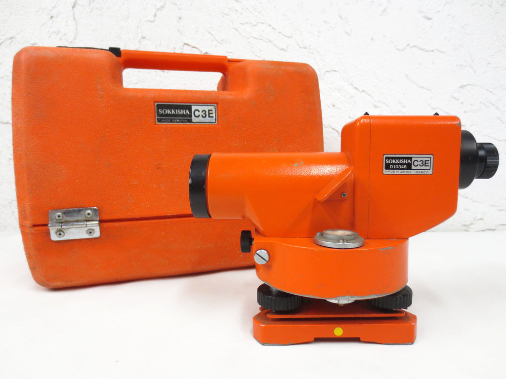 Sokkisha Surveyor Transit Automatic Level Model C3E, D10346, Made in Japan, With Case, All Metal Body, Orange