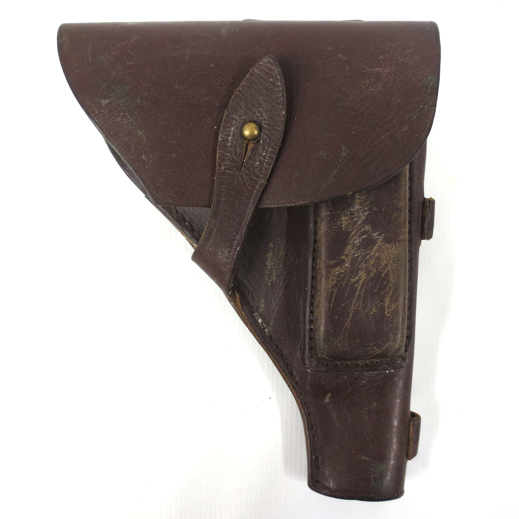 "Vintage WWII German Military Police Pistol Gun Revolver Holster Thick Leather 8.5 X 6.5"", Flap Over, Brass Button, Lot #2"