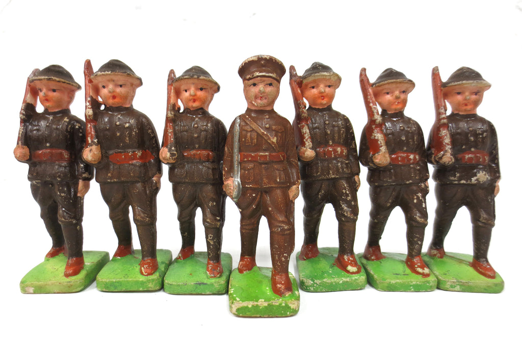 "7 WWII Vintage Toy English Soldiers Bisque Porcelain Figurines 3 3/4"", Officer with Sword and his Troops"
