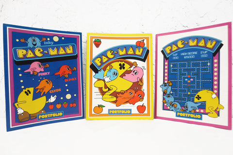 "3 Vintage 1980's Pac-Man Pacman Midway Portfolios Folders 9X12"", New Old Stock NOS, Never Used"