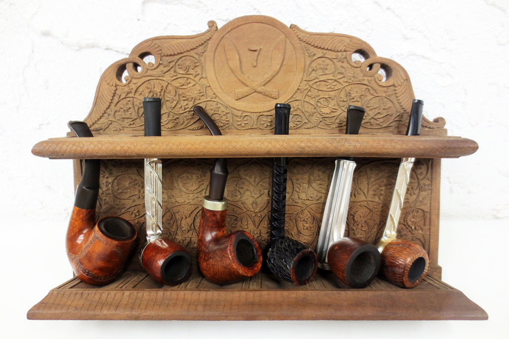 Vintage Tobacco Pipe Wall Stand Rack Display Fits 6 Pipes, Folding Panels, Engraved Sabers, Flowers & Leaves
