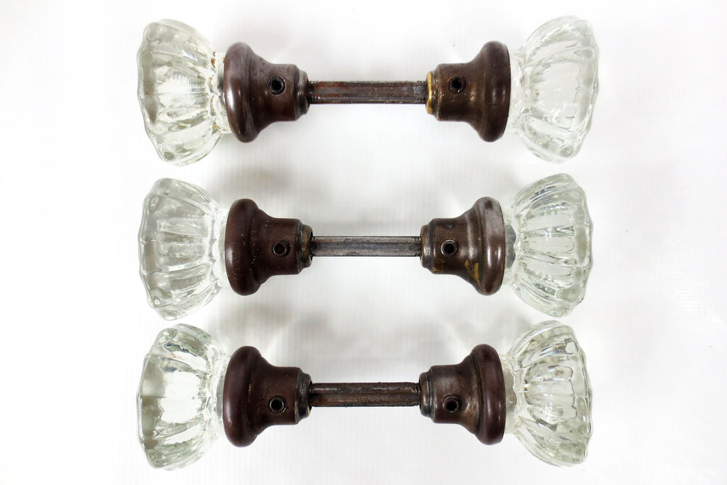 3 Pairs of Antique Victorian 12 Point Crystal Glass Door Knobs Screws & Rods #5