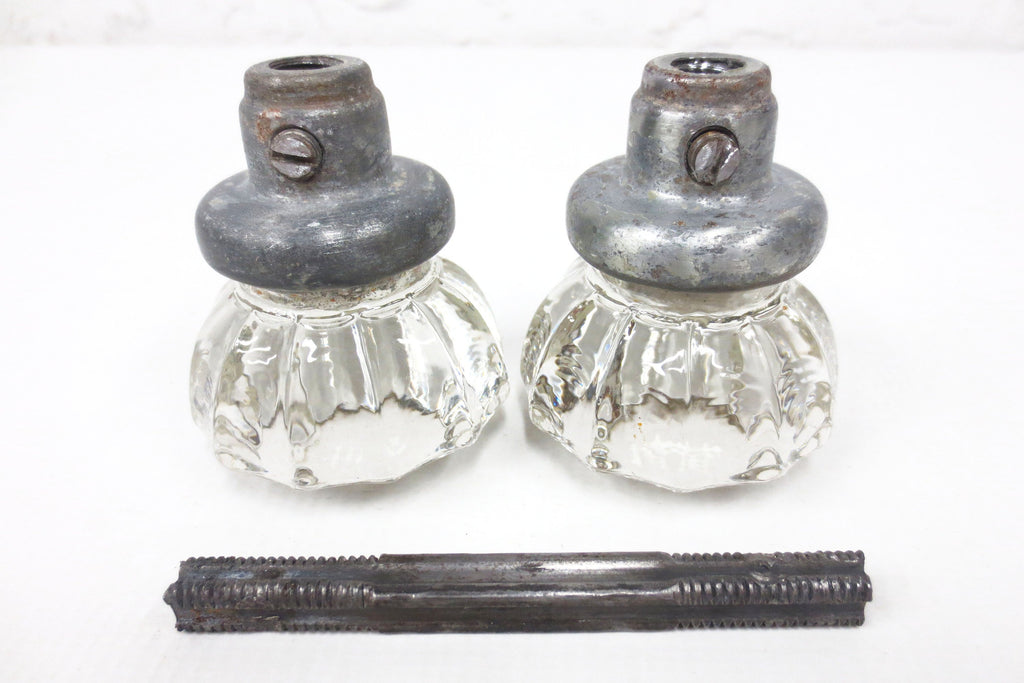Pair of Antique Victorian 12 Point Crystal Glass Door Knobs, Screws & Rod #6