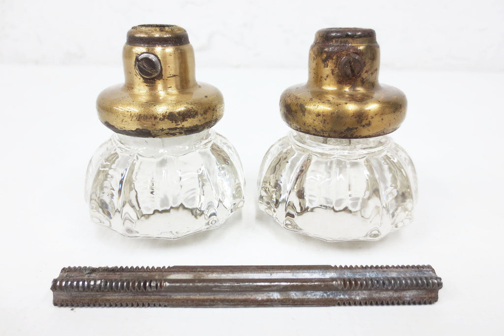 Pair of Antique Victorian 12 Point Crystal Glass Door Knobs, Screws & Rod #8