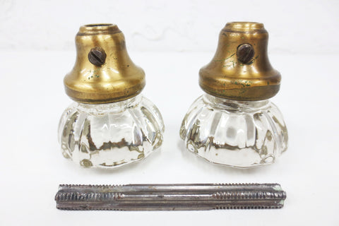 Pair of Antique Victorian 12 Point Crystal Glass Door Knobs, Screws & Rod #9