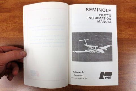 Vintage 1978 Piper Seminole Airplane Pilots' Manual, Seminole PA-44-180, 200 pages, Illustrated
