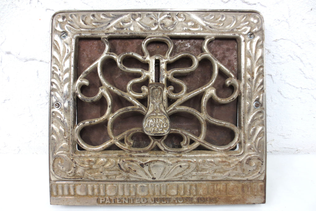 "Antique 1906 Victorian Nickel Plated Wall Grate 13 X 11"" Heat Register Vent, Open Close Trap Knob, Ornate"