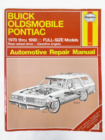 Vintage 1970 to 1990 Buick Oldsmobile Pontiac, Haynes Garage Repair Manual