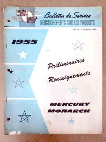 Vintage 1955 Ford Mercury Monarch Car Preliminary Specifications Garage Manual