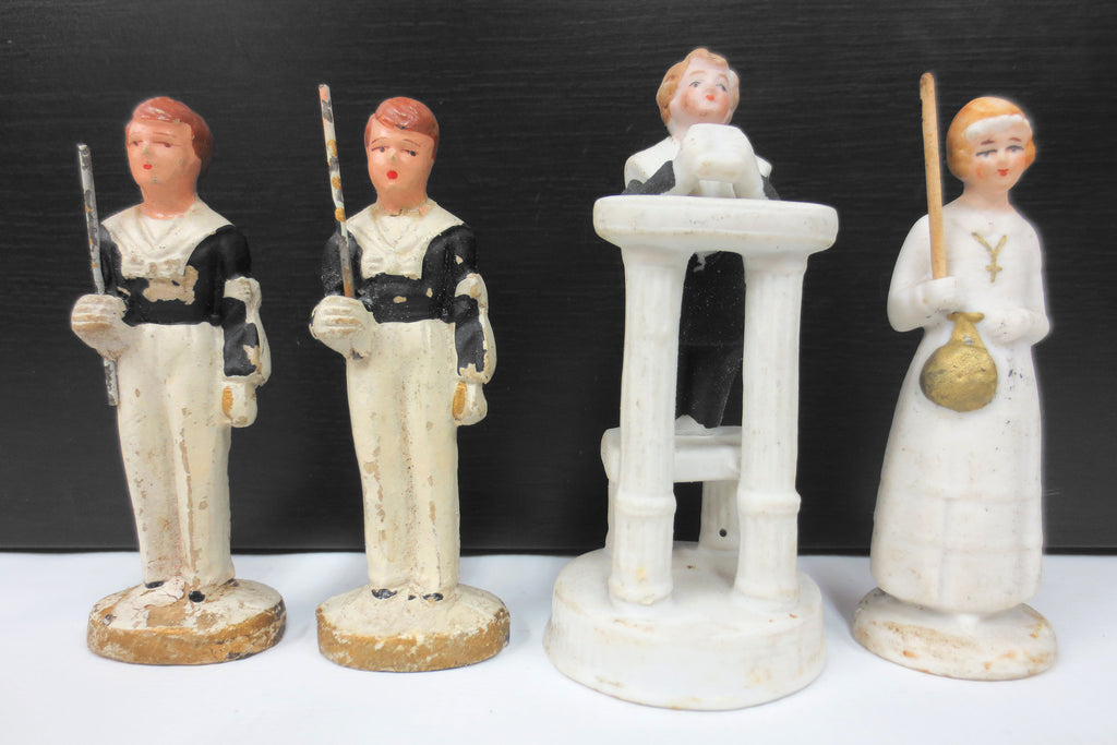 "4 Antique Bisque Porcelain and Composition Figurines 3"" Signed Deutschland, Germany, Catholic Prayer, 3 Boys, 1 Girl"