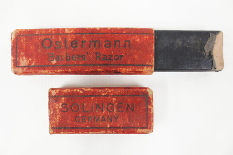 Antique Solingen Ostermann Germany Straight Razor Box, Barber Razor Collector's Box, Red Orange