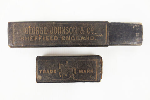 Antique George Johnson Sheffield England Straight Razor Box, Barber Razor Collector's Box, Horse Rider Emblem